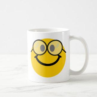Smiley Geeky Taza Básica Blanca