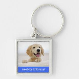Smiley Golden Retriever Puppy Premium Key Chain