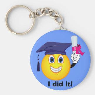 Smiley Graduate Basic Round Button Keychain