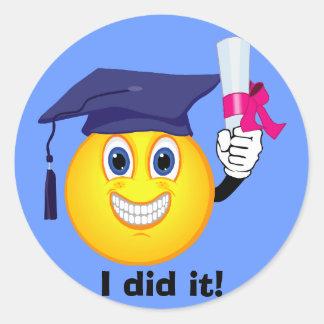 Smiley Graduate Classic Round Sticker