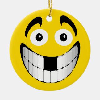 Smiley grande amarillo de la mueca con los dientes ornatos