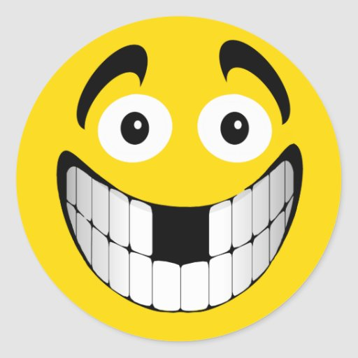 Smiley grande amarillo de la mueca con los dientes pegatinas redondas
