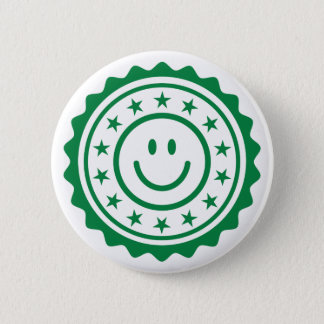Smiley green approved quality seal pinback button