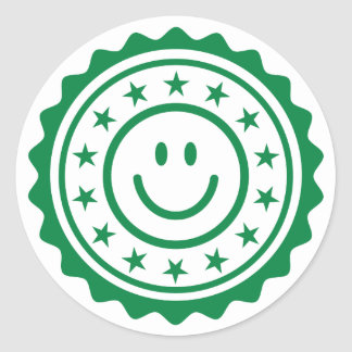 Smiley green approved quality seal round stickers