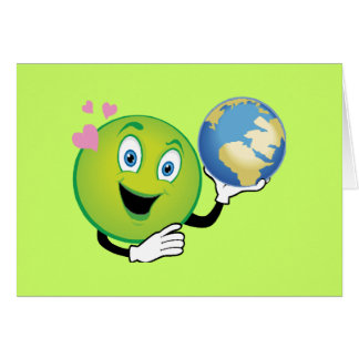 Smiley Green Planet Greeting Card