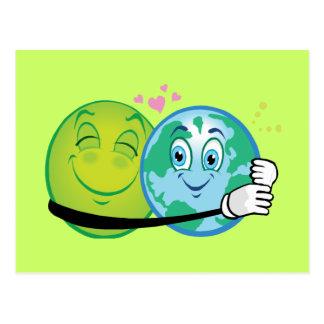 Smiley Green Planet Postcard