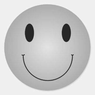 Smiley gris pegatina redonda