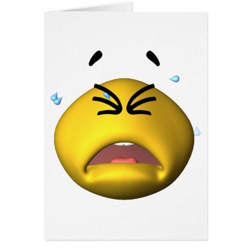 Smiley gritador amarillo tarjeta