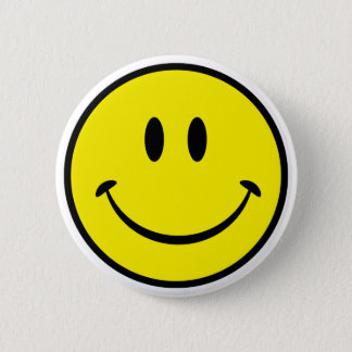 Smiley Happiness Face Pinback Button