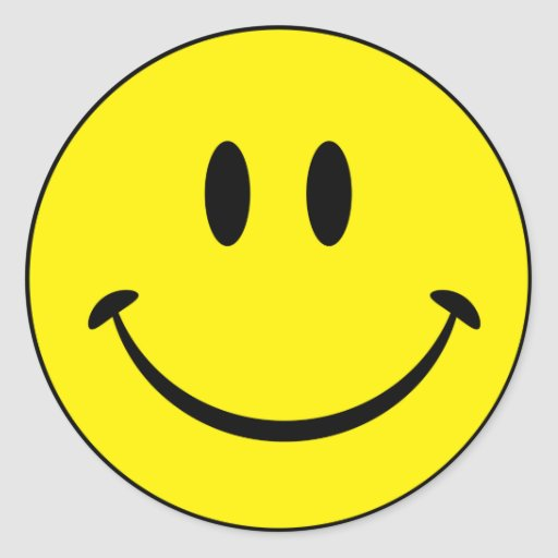 Smiley Happiness Face Round Stickers