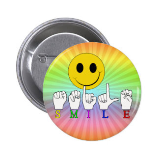 SMILEY HAPPY FACE ASL SIGN LANGUAGE BUTTONS