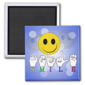 SMILEY HAPPY FACE ASL SIGN LANGUAGE MAGNET