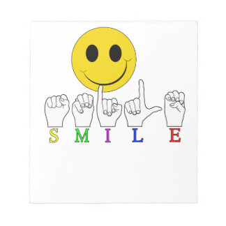 SMILEY HAPPY FACE ASL SIGN LANGUAGE SCRATCH PAD