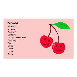 smiley happy face cherries business card