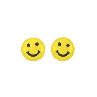 Smiley Happy Face On Yellow Color Background Earrings