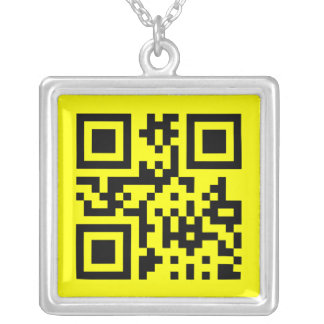 Smiley ☺ Happy Face -- QR Code Silver Plated Necklace