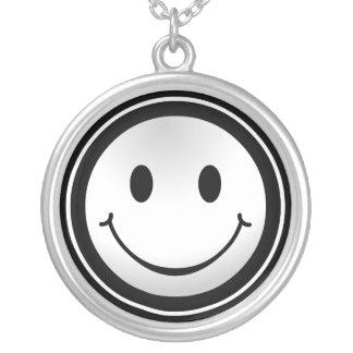 Smiley Happy Face Silver necklace