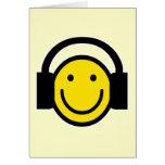 Smiley Headphones Greeting Cards