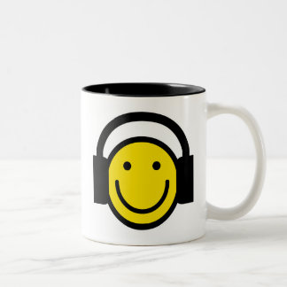 Smiley Headphones Two-Tone Coffee Mug