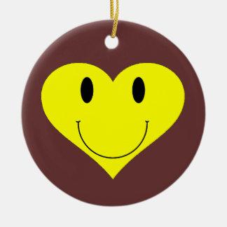 Smiley Heart Face Ceramic Ornament