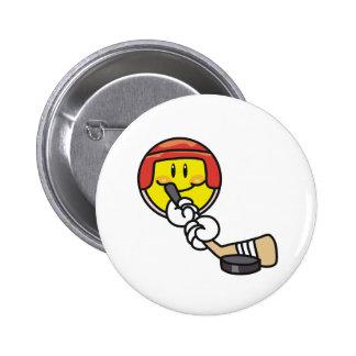 Smiley Hockey Pinback Button