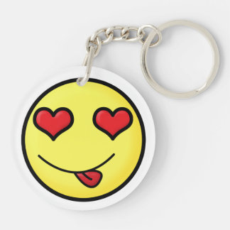 Smiley inlove face Double-Sided round acrylic keychain