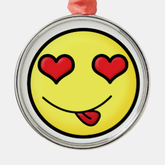 Smiley inlove face metal ornament