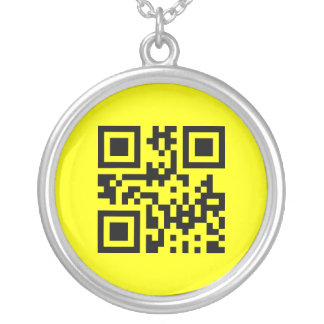 Smiley Inverted ☻ Happy Face -- QR Code Silver Plated Necklace