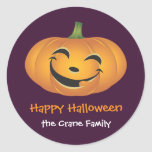 Smiley jolly pumpkin custom Halloween gift tag Round Stickers