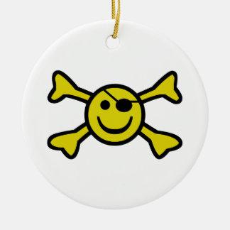 Smiley Jolly Roger Ceramic Ornament