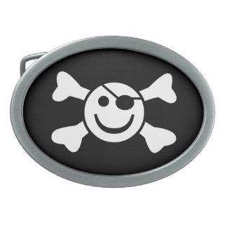 Smiley Jolly Roger Oval Belt Buckle
