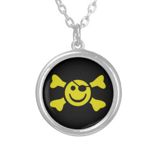 Smiley Jolly Roger Silver Plated Necklace