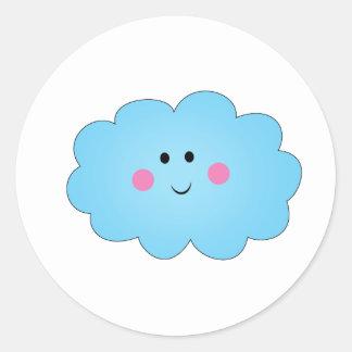 Smiley Kwaii cloud Classic Round Sticker