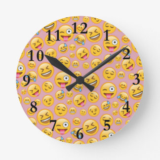 Smiley Laugh Out Loud (lol) Emoji Pattern Round Clock