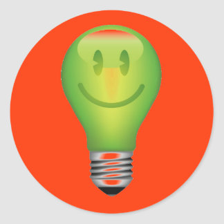 SMILEY LIGHT BULB CLASSIC ROUND STICKER