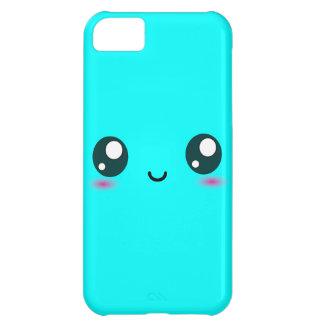 Smiley lindo de Kawaii - azul - color adaptable