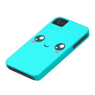 Smiley lindo de Kawaii - azul - color adaptable iPhone 4 Fundas