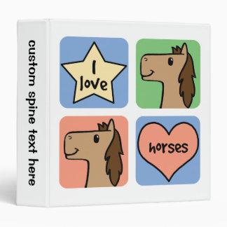 """Smiley lindos de los caballos del amor del clip carpeta 1 1/2"""""""