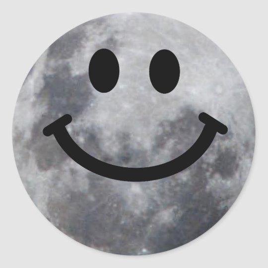 Smiley Moon Classic Round Sticker