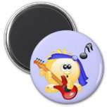 Smiley Music Guitar Player 2 Inch Round Magnet
