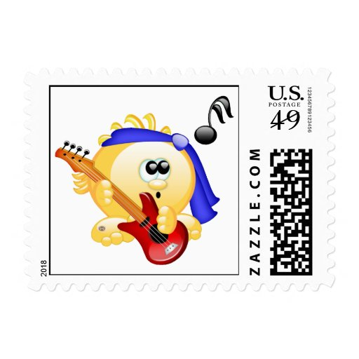 Smiley Music Guitar Player Stamps
