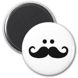 Smiley Mustache face 2 Inch Round Magnet