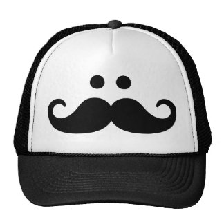 Smiley Mustache face Mesh Hats