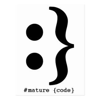 Smiley Mustache Mature Code Postcard