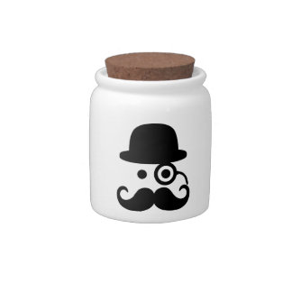 Smiley Mustache monocle Candy Jar