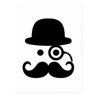 Smiley Mustache monocle Postcard