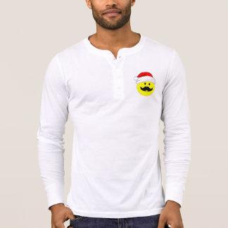 Smiley Mustache Santa Henley Long Sleeve Shirt