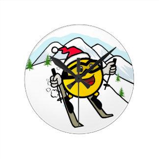 Smiley On Ski Round Wall Clock
