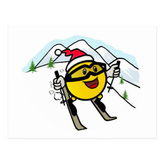 Smiley On Ski Postcard