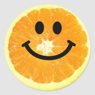 Smiley Orange Slice Classic Round Sticker